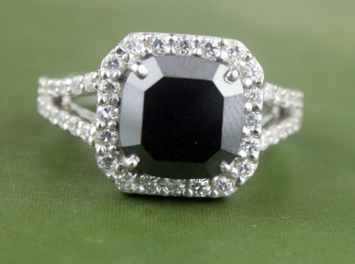 Black diamond Wedding Rings 5.21 Ct Black & White Diamond Cushion Shape Sterling Silver Solitaire