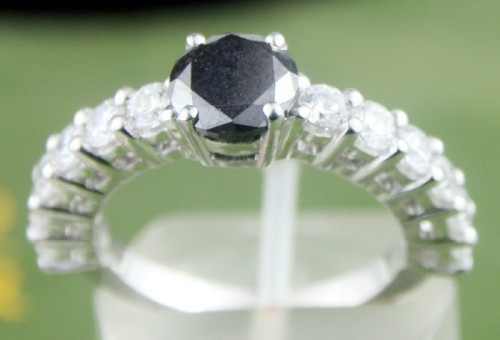 Black diamond Ring 2.00 Carat Solitaire With Accents Solid Gold