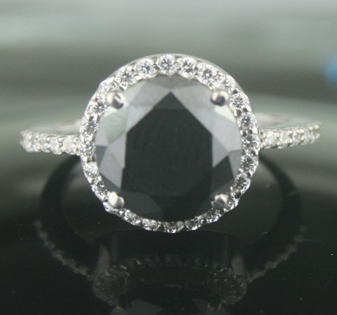 Black diamonds Ring 3.96 Carat Diamond Solitaire With Accent Solid Gold