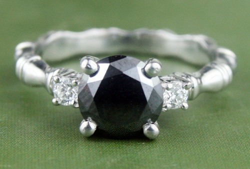 Black and White Diamond Engagement Rings 1.77 Ct Black & White Diamond Round Shape Sterling Silver Solitaire