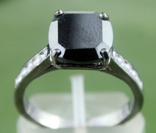 Artistry Black Diamond Ring 4.17 Ct Black & White Diamond Cushion Shape Sterling Silver Solitaire