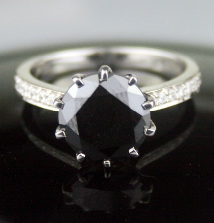 Artistry Black Diamond 3.83 Carat  Solitaire Ring wz Accent Solid Gold