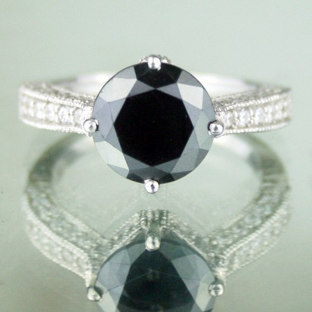 Black Diamond Rings 3.82 Carat Solitaire Diamond Solid Gold