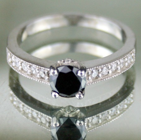 Black diamond Wedding Rings 1.01 Ct Black & White Diamond Round Shape Sterling Silver Solitaire