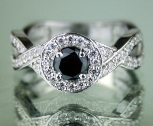 Black Diamond Rings 1.11 Ct Black & White Diamond Round Shape Sterling Silver Solitaire