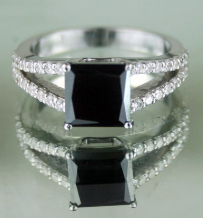 Black diamond Wedding Rings 2.97 Ct Black & White Diamond Princess Shape Sterling Silver Solitaire