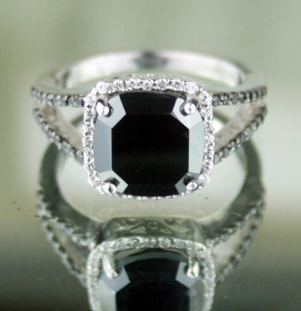 Black and White Diamond Engagement Rings 4.06 Ct Black & White Diamond Cushion Shape Sterling Silver Solitaire