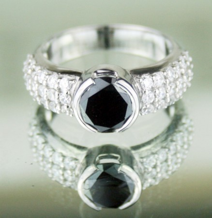 Black diamond Wedding Rings 4.00 Carat Solitaire Diamond With Accents Solid Gold