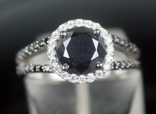 Enhanced Black Diamond 1.35 Carat Black Solitaire Diamond Ring Solid Gold