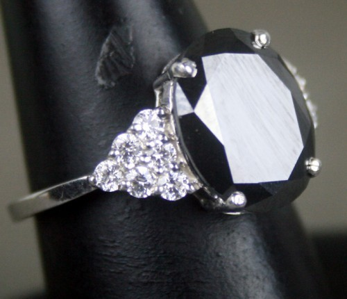 Black diamond Wedding Rings 4.84 Carat Solitaire wz Accent Solid Gold