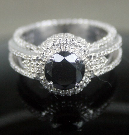 Black Diamond Rings 3.47 Carat Solitaire Black Diamond Solid Gold