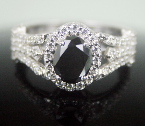 Cheap Black Diamond Engagement Rings 2.24 Ct Black & White Diamond Round Shape Sterling Silver Solitaire