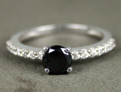 Black Diamond 1.07 Carat Solitaire Engagement Rings Solid Gold