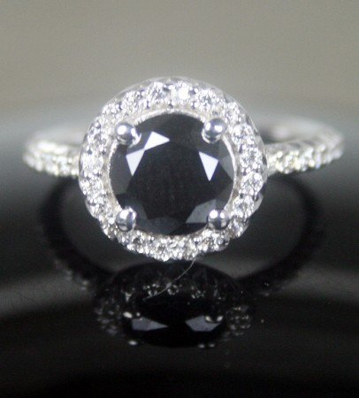 Black diamond Ring 2.13 Carat Solitaire Diamond With Accents Solid Gold
