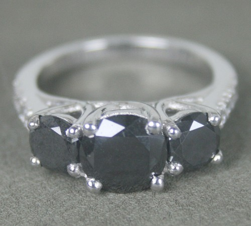 Black Diamond Engagement Rings 3.58 Ct Black & White Diamond Round Shape Sterling Silver Solitaire