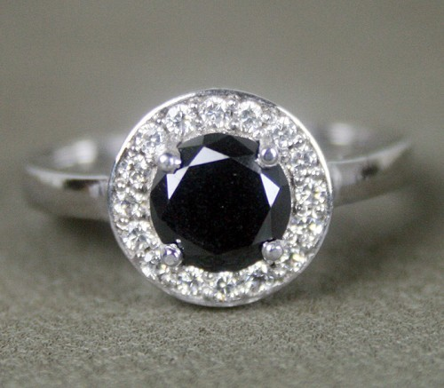 Black diamond Wedding Rings 1.62 Carat Solitaire With Accents Solid Gold