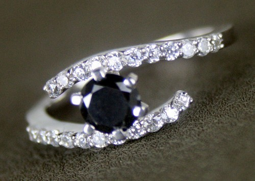 Black Diamond Rings 1.24 Ct Black & White Diamond Round Shape Sterling Silver Solitaire