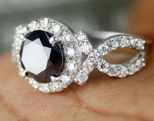 Black and White Diamond Engagement Rings 2.76 Ct Black & White Diamond Round Shape Sterling Silver Solitaire