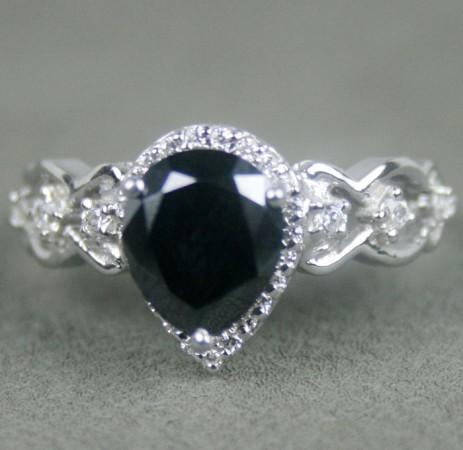 Black Stone 2.01 Carat Solitaire Diamond With Accents Ring Solid Gold