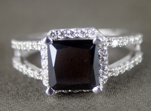 Black diamonds Ring 3.61 Ct Black & White Diamond Princess Shape Sterling Silver Solitaire