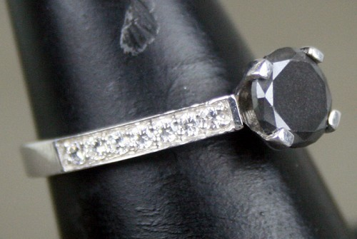 Artistry Black Diamond 1.50 Carat Solitaire Ring wz Accent Solid Gold