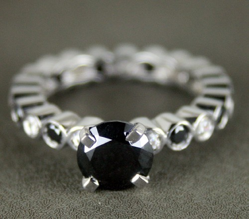 Black Diamond Rings 2.88 Ct Black & White Diamond Round Shape Sterling Silver Solitaire