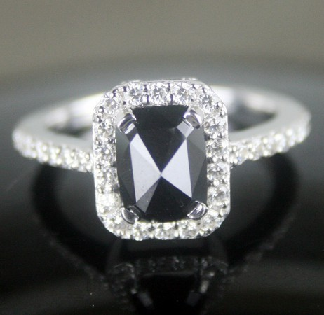 Black diamond Wedding Rings 2.57 Ct Black & White Diamond Radiant Shape Sterling Silver Solitaire