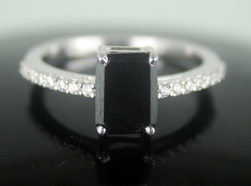 Enhanced Black Diamond 1.96 Carat Engagement Rings Solitaire Radiant Cut Solid Gold