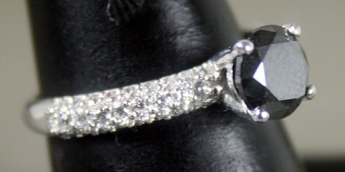 Black and White Diamond Engagement Rings 1.96 Ct Black & White Diamond Round Shape Sterling Silver Solitaire