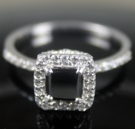 Black Diamond Engagement Rings 1.47 Ct Black & White Diamond Princess Shape Sterling Silver Solitaire