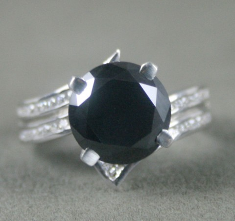 Enhanced Black Diamond Ring 3.85 Ct Black & White Diamond Round Shape Sterling Silver Solitaire