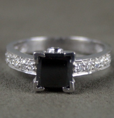 Artistry Black Diamond 1.69 Carat Princess Cut Solitaire With Accents Ring Solid Gold