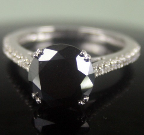Black Diamond 3.61 Carat Solitaire Engagement Ring Solid Gold