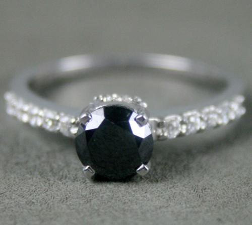 Enhanced Black Diamond 1.71 Carat Solitaire Diamond Ring Solid Gold