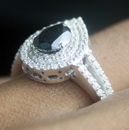 Black and White Diamond Engagement Rings 2.55 Ct Black & White Diamond Pear Shape Sterling Silver Solitaire