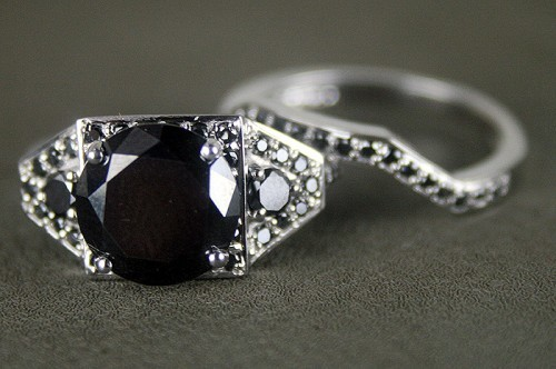 Artistry Black Diamond Ring Set 3.89 Ct Black Diamond Round Shape Sterling Silver Solitaire
