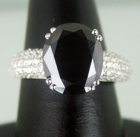 Black and White Diamond Engagement Rings 6.20 Ct Black & White Diamond Round Shape Sterling Silver Solitaire