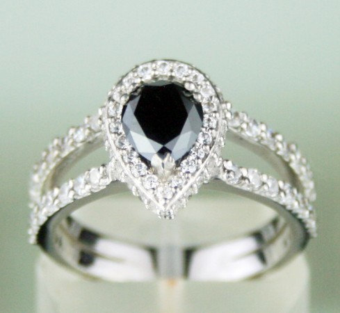 Enhanced Black Diamond Ring 2.36 Ct Black & White Diamond Pear Shape Sterling Silver Solitaire