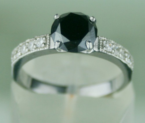 Enhanced Black Diamond Ring 1.77 Ct Black & White Diamond Round Shape Sterling Silver Solitaire