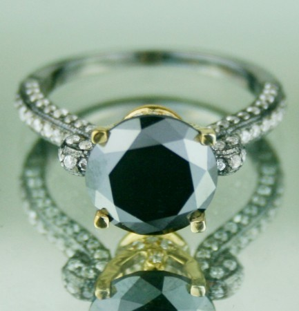 Enhanced Black Diamond 4.26 Carat Solitaire With Accents Ring Solid Gold