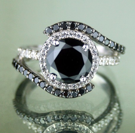 Black diamonds Ring 3.47 Ct Black & White Diamond Round Shape Sterling Silver Solitaire