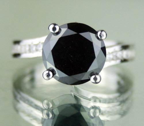 Black Stone Engagement Rings 3.64 Ct Black & White Diamond Round Shape Sterling Silver Solitaire
