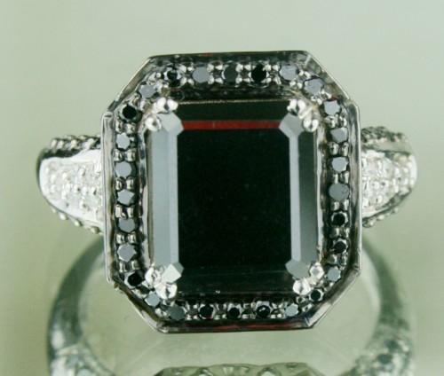Black Diamond Rings 4.84 Ct Black & White Diamond Radiant Shape Sterling Silver Solitaire