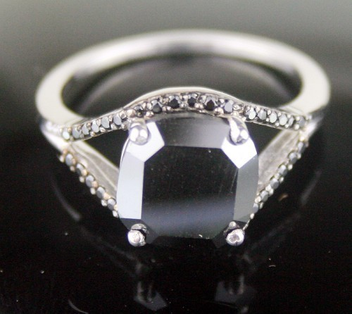 Black diamonds Ring 4.13 Ct Black Diamond Cushion Shape Sterling Silver Solitaire