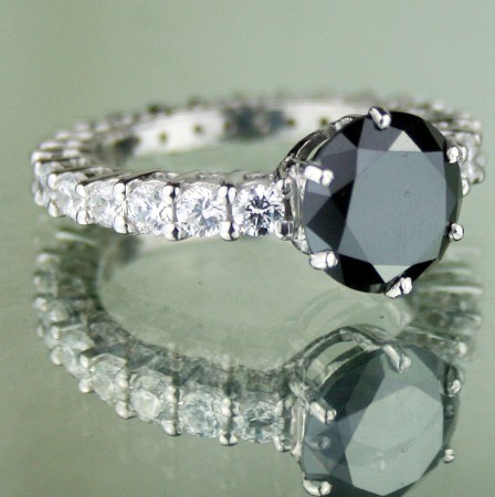 Black diamond Wedding Rings 5.31 Ct Black & White Diamond Round Shape Sterling Silver Solitaire