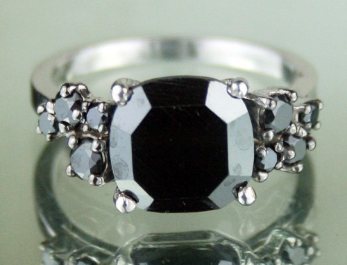Black and White Diamond Engagement Rings 4.85 Ct Black Diamond Round Shape Sterling Silver Solitaire