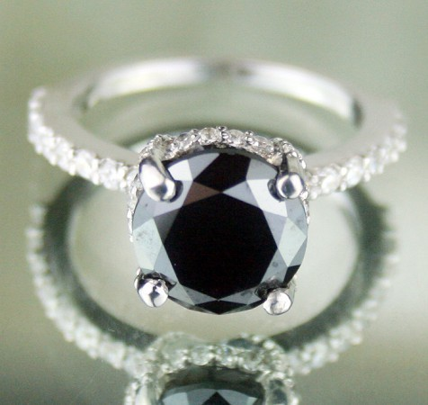 Black Diamond Rings 4.85 Ct Black & White Diamond Round Shape Sterling Silver Solitaire