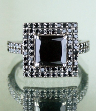 Black Diamond Rings 2.79 Ct Black Diamond Princess Shape Sterling Silver Solitaire