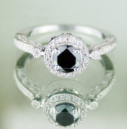 Enhanced Black Diamond Ring 1.39 Ct Black & White Diamond Round Shape Sterling Silver Solitaire
