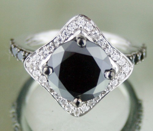 Black diamond Wedding Rings 3.65 Carat Diamond Solitaire Solid Gold